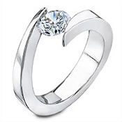 Tension set diamond engagement rings